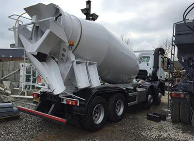 1 off Ex-hire Mercedes / Hymix model P8000 8/9m3 Standard Transit Concrete Mixer