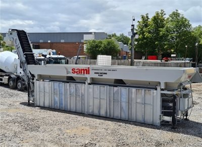 1 off New Hydromix / Sami Model Tecno 3-100 3 Bin dry-batch Concrete Batching Plant